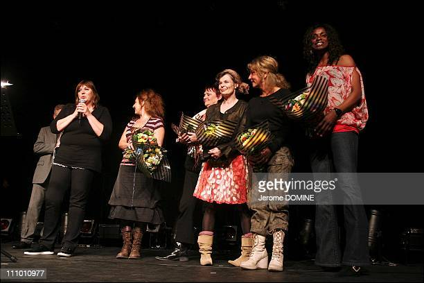 Michele Bernier Nathalie Corre Carole Brenner MarieClaude Burnat Nathalie Juvet and Eunice Barber at the 23th Mont Blanc d'humor Festival in St...