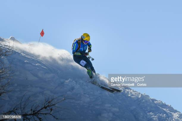 Michele Boscacci in action on the last descent during Italian Team Ski Mountaineering Championships on February 14, 2021 in ALBOSAGGIA, Italy.