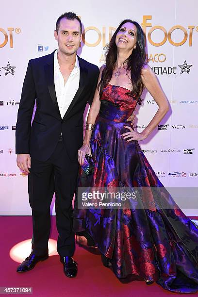 Michele Caliendo and Lorena Baricalla attend the Golden Foot 2014 Awards Ceremony at Sporting Club on October 13 2014 in MonteCarlo Monaco