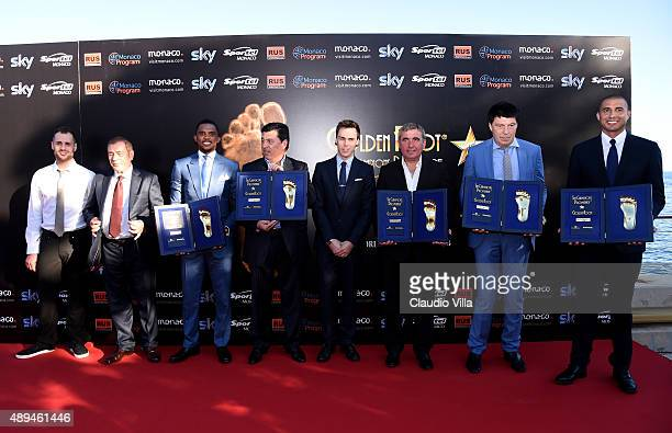 Michele Caliendo Antonio Caliendo Samuel Eto'o Daniel Passarella Louis Ducruet Gheorghe Hagi Rinat Dasaev David Trezeguet attend the Golden Foot...