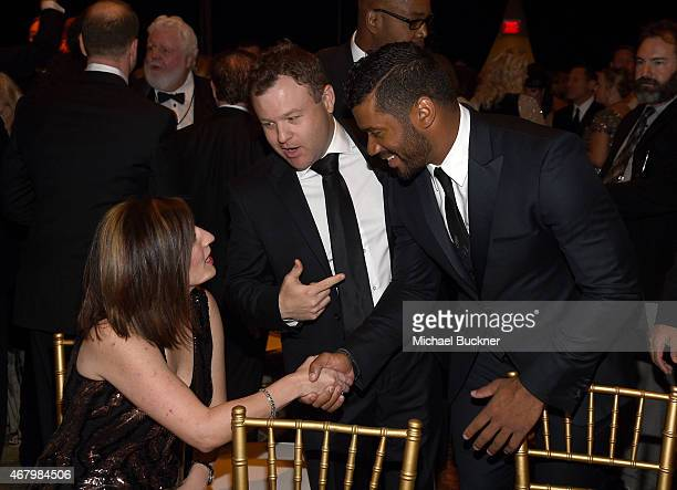 Michele Caliendo comedian Frank Caliendo and Seattle Seahawks quarterback Russell Wilson attend Muhammad Ali's Celebrity Fight Night XXI at the JW...