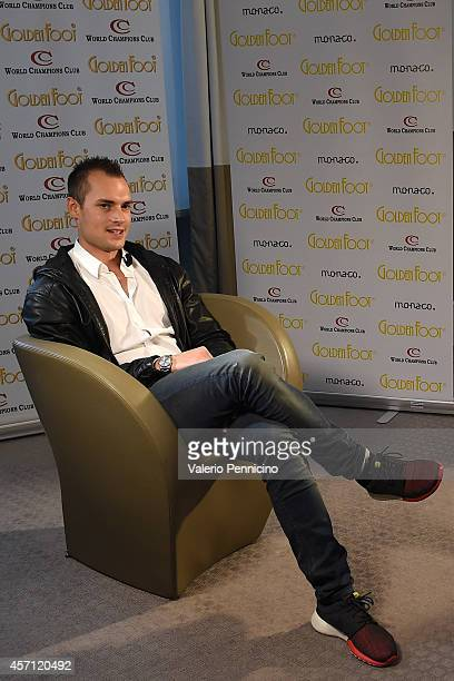 Michele Caliendo is interviewed at MonteCarlo Bay during the Golden Foot Interviews on October 12 2014 in MonteCarlo Monaco