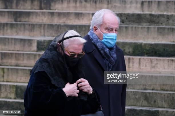 Michele Cambon Brasseur attend actor Claude Brasseur's funeral in Saint Roch Church on December 29, 2020 in Paris, France.