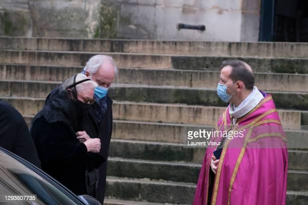 Michele Cambon Brasseur attends actor Claude Brasseur's funeral in Saint Roch Church on December 29, 2020 in Paris, France.