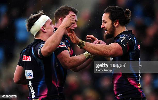 Michele Campagnaro of Exeter Chiefs celebrates his sides try during the AngloWelsh Cup match between Exeter Chiefs and Wasps at at Sandy Park on...