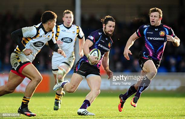 Michele Campagnaro of Exeter Chiefs goes on the charge during the AngloWelsh Cup match between Exeter Chiefs and Wasps at at Sandy Park on January 28...