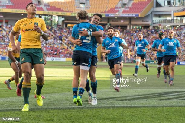 Michele Campagnaro of Italy celebrates with his team mates after scoring a try during the International Test match between the Australian Wallabies...