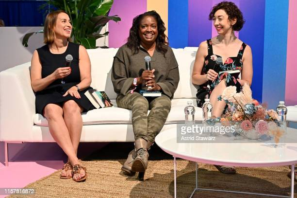 """Michele Campbell, Rachel Howzell Hall, Andrea Bartz speak on stage during """"ThrillHer"""" panel discussion during POPSUGAR Play/Ground at Pier 94 on June..."""