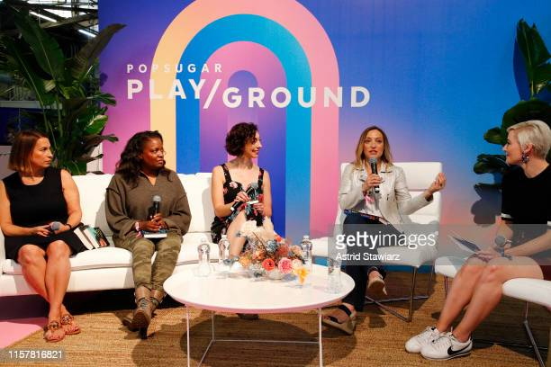 "Michele Campbell, Rachel Howzell Hall, Andrea Bartz, Wendy Walker, Lindsay Miller speak on stage during ""ThrillHer"" panel discussion during POPSUGAR..."