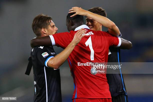 Michele Cremonesi Alfred Gomis and Daniele Gasparetto of Spal celebrating at the end of the match at Olimpico Stadium in Rome Italy on August 20 2017