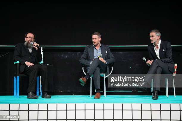 Michele De Lucchi Lapo Elkann and Adrian van Hooydonk attend Memphis event during Milan Design Week 2017 on April 4 2017 in Milan Italy