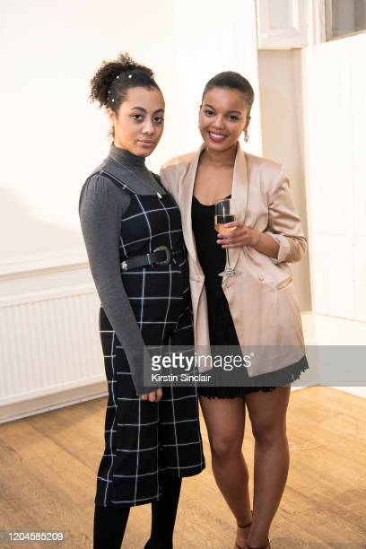 Michele Des Fontaine with Fashion designer Shanna Bent at the Maison Bent AW20 Presentation at Pushkin House on February 06 2020 in London England