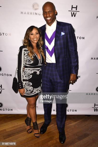 Michele Harrington and Al Harrington arrive at exNBA Star Al Harrington Launches New CBD Business at Wolfgang's Steakhouse on February 15 2018 in...