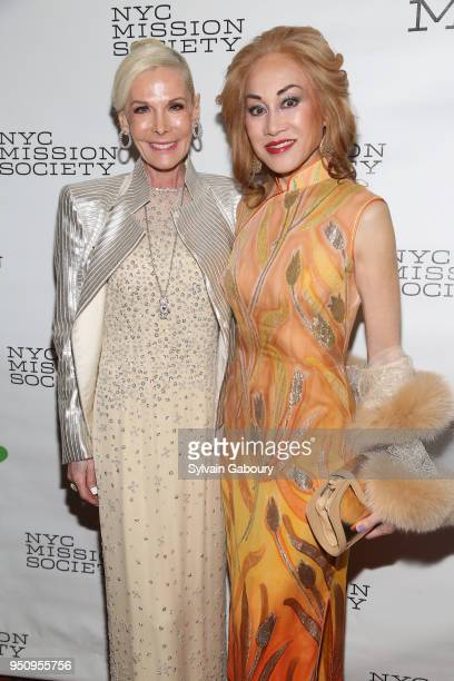 Michele Herbert and Lucia Hwong Gordon attend NYC Mission Society's 2018 Champions for Children gala on April 24 2018 in New York City