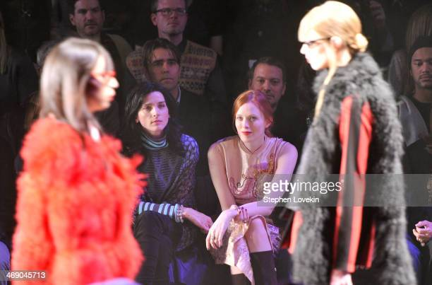 Michele Hicks and Karen Elson attend the Anna Sui fashion show during MercedesBenz Fashion Week Fall 2014 at The Theatre at Lincoln Center on...