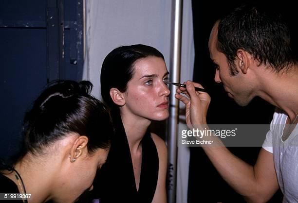 Michele Hicks at Marc Jacobs fashion show backstage makeup New York November 3 1997
