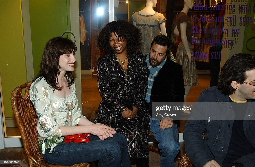 Michele Hicks, Brigette Romanek and Mark Romanek during Vogue and Samsung Present the Anna Sui Mobile at Fred Segal Store in Santa Monica, California, United States.