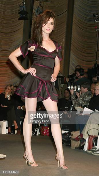 Michele Hicks on the runway during Zac Posen Fall 2003 Fashion Show at The Four Seasons Restaurant in New York NY United States