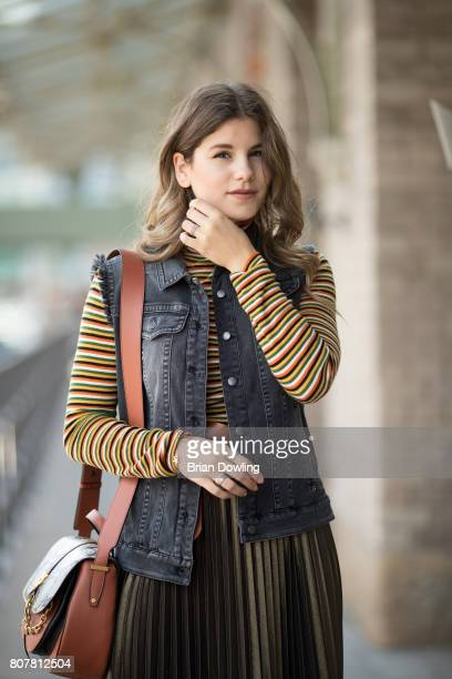 Michele Kruesi poses at the Marc Cain street style shooting during MercedesBenz Fashion Week Berlin Spring/Summer 2018 on July 4 2017 in Berlin...