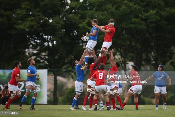Harri Morgan of Wales kicks the ball during the World Rugby Under 20 Championship 7th Place playoff match between Wales and Italy at the Stade De La...