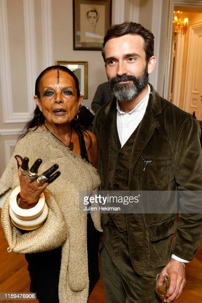 Michele Lamy and Designer Daniel Roseberry attend the Schiaparelli Cocktail to celebrate Daniel Roseberry first Haute Couture Collection as part of...