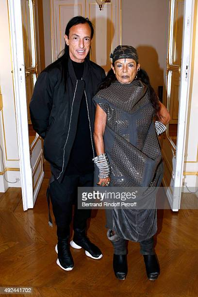 Michele Lamy and her husband Fashion designer Rick Owens attend Actor Harvey Keitel receives the Medal of Commander of Arts and Letters at Ministere...