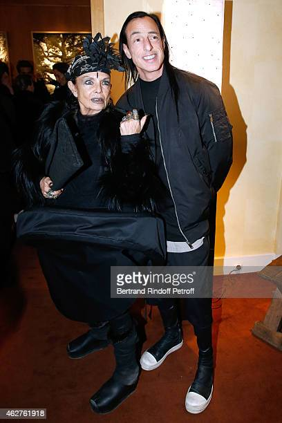 Michele Lamy and her husband Fashion designer Rick Owens attend his Exhibition at Galerie Passebon on February 4 2015 in Paris France