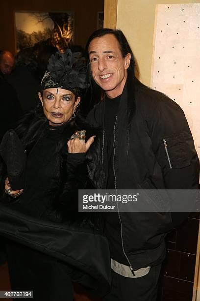 Michele Lamy and Rick Owens attend the cocktail party for the exposition of Patrice Calmettes at Galerie Pierre Passebon on February 4 2015 in Paris...