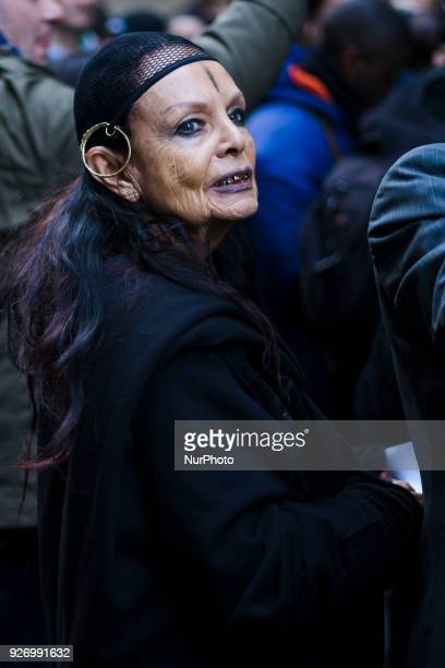 Michele Lamy attends the Comme Des Garçons show as part of the Paris Fashion Week Womenswear Fall/Winter 2018/2019 on March 3 2018 in Paris France