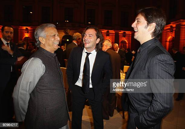 Michele Malenotti and Manuele Malenotti vice presidents of Belstaff and economist Muhammad Yunus attend at the gala dinner BELSTAFF FOR PEACE to the...