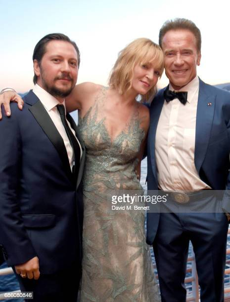 Michele Malenotti Uma Thurman and Arnold Schwarzenegger attend the Vanity Fair and HBO Dinner celebrating the Cannes Film Festival at Hotel du...