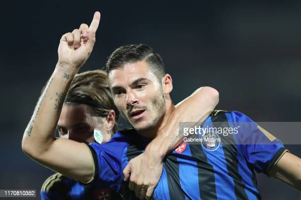 Michele Marconi of SC Pisa celebrates after scoring a goal during the Serie B match between AC Pisa and Empoli at Arena Garibaldi on September 21,...