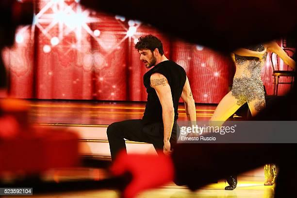 Michele Marrone performs during the 'Ballando Con Le Stelle' Tv Show at Auditorium RAI on April 23 2016 in Rome Italy
