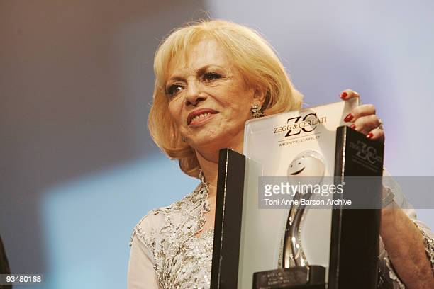 Michele Mercier receives an award at the Monte Carlo Comedy Film Festival Gala Awards Ceremony at the Grimaldi Forum on November 28 2009 in Monte...
