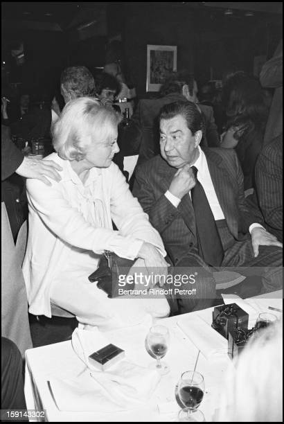 Michele Morgan and Paul Meurisse attend a party in Paris in 1978