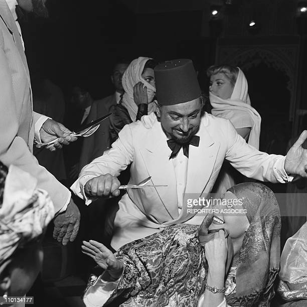 Michele Morgan and Pierre Brasseur in Marrakech for the set of the movie 'Oasis' by Yves Allegret in 1954.