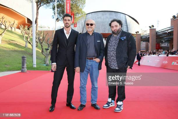 Michele Morrone Ivano Marescotti and Nicola Nocella attend the Bar Giuseppe red carpet during the 14th Rome Film Festival on October 18 2019 in Rome...
