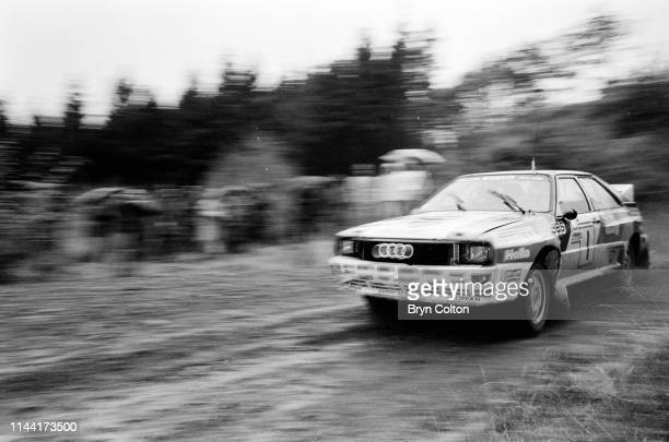 Michele Mouton the French female World Rally Championship driver for Audi AG driving her Audi Quattro A1 in a rally in Wales UK on Saturday October...