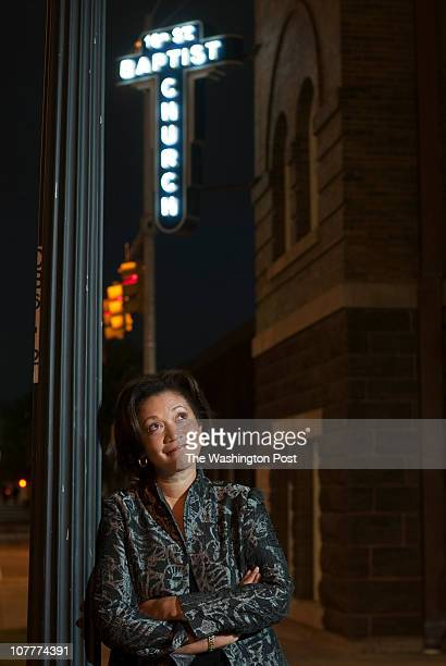 Michele Norris poses for a portrait outside the historic 16th Street Baptist Church in downtown Birmingham before giving a talk about her book The...