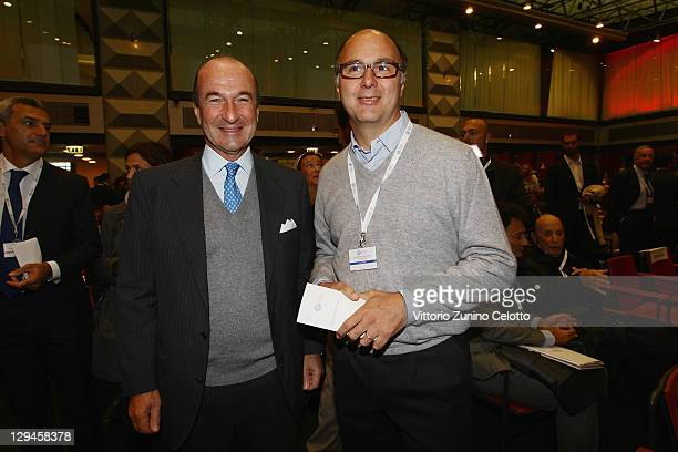 Michele Norsa and Andrea Guerra attend the Altagamma Observatory 2011 at Palazzo Mezzanotte on October 17 2011 in Milan Italy The Fondazione...