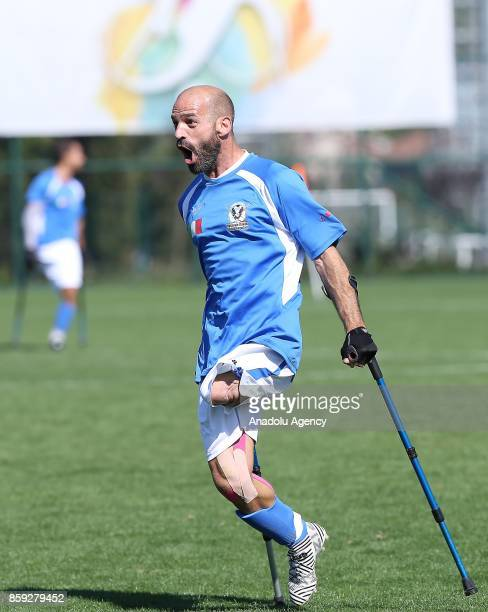 Michele Piana of Italy celebrates after scoring a goal during the European Amputee Football Federation European Championship match between Ireland...