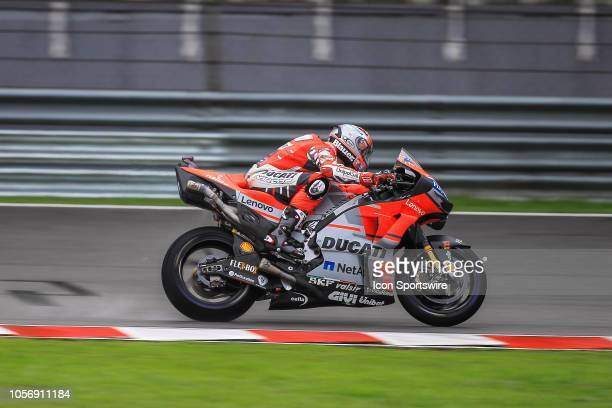 Michele Pirro of Ducati Racing Team in action during saturday's free practice session of the Malaysian Motorcycle Grand Prix on November 03 held at...