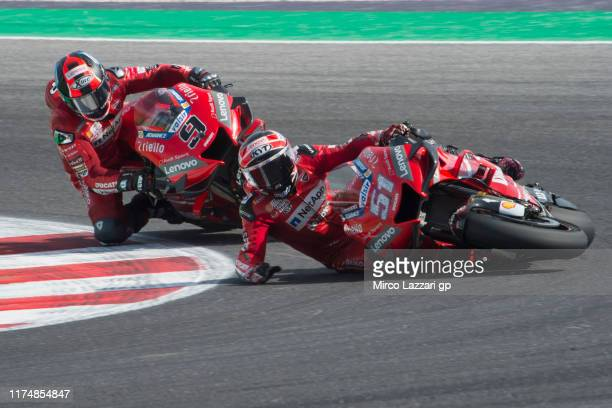 Michele Pirro of Italy and Ducati Team crashed out during the MotoGP race during the MotoGp of San Marino - Race at Misano World Circuit on September...