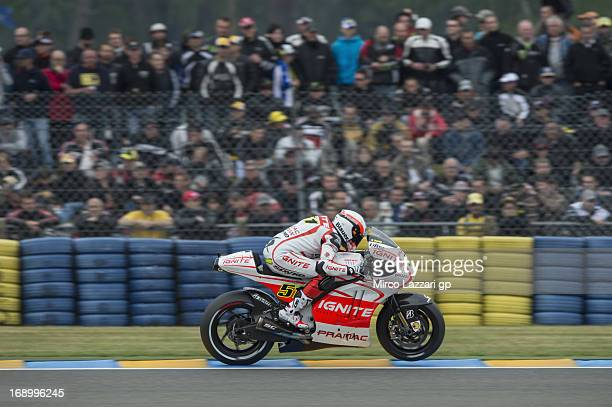 Michele Pirro of Italy and Ducati Test Team heads down a straight during the qualifying practice of the MotoGp Of France Qualifying on May 18 2013 in...