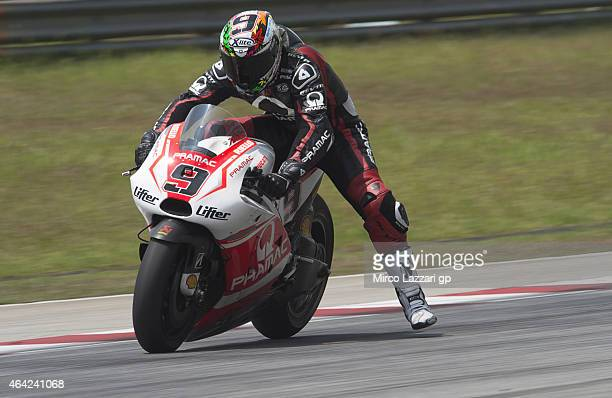 Michele Pirro of Italy and Ducati Test Team heads down a straight during the MotoGP Tests in Sepang Day One at Sepang Circuit on February 23 2015 in...