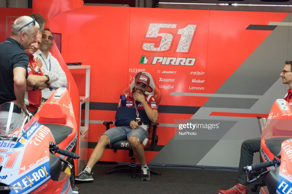Michele Pirro, the victim of a bad accident during the second free practice session at the Ducati recingduring Race MotoGP at the Mugello International Cuircuit for the sixth round of MotoGP World Championship Gran Premio d'Italia Oakley on June 3, 2018 in Scarperia, Italy