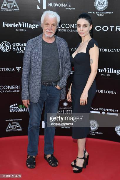 Michele Placido and Federica Vincenti attend the fifth day of Filming Italy Sardegna Festival 2020 at Forte Village Resort on July 26, 2020 in Santa...