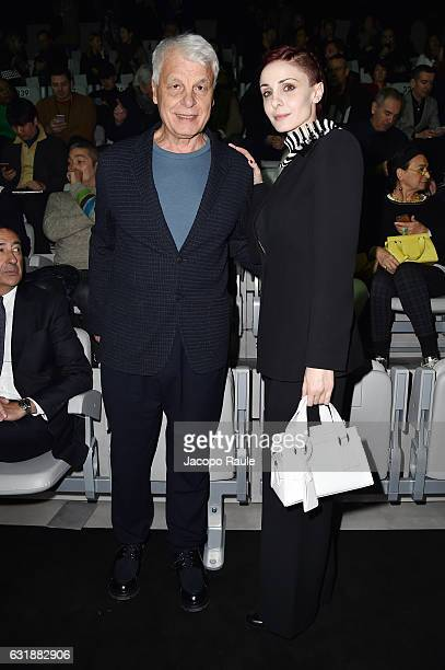 Michele Placido and Federica Vincenti attend the Giorgio Armani show during Milan Men's Fashion Week Fall/Winter 2017/18 on January 17, 2017 in...