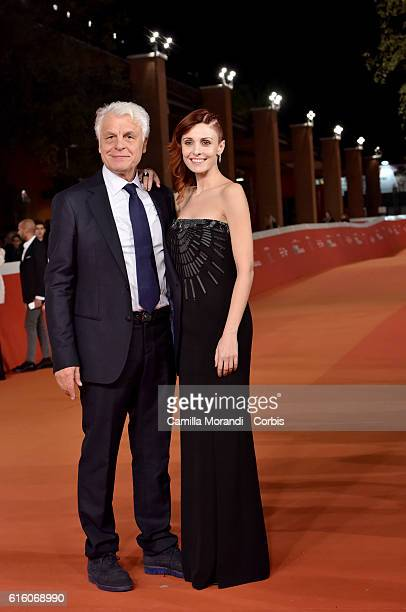 Michele Placido and Federica Vincenti walk a red carpet for '7 Minuti' during the 11th Rome Film Festival on October 21 2016 in Rome Italy