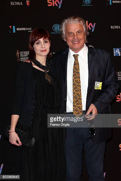 Michele Placido and his wife Federica Vincenti arrive at the 60 David di Donatello ceremony on April 18 2016 in Rome Italy